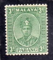 MALAYA PAHANG MALESIA 1935 SULTAN ABU BAKAR 1941 CENT. 3c MNH - Pahang