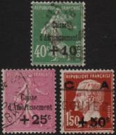 ~~~ France 1929 - Caisse D'Amortissement - Yv. 253/255 -  CV 115.00 Euro ~~~ - France