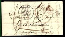 LETTRE DU 29 SEPTEMBRE 1839 EN PROVENANCE DE SEDAN POUR LES VOSGES - TAXE DU DÉCIME RURALE - INDICATIF - Marcophilie (Lettres)