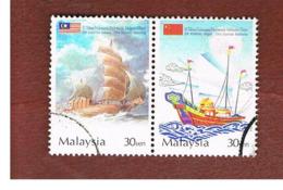 MALESIA (MALAYSIA)  -  SG 1199a  -   2004 MALAYSIA-CHINA DIPLOMATIC RELATIONS (2 STAMPS SE-TENANT) -  USED ° - Malesia (1964-...)