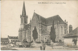 BRIELLES    ***   L'église Et La Place     *** Cpa Peu Courante - Other Municipalities