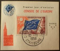 "R1591/510 - 1958 - CONSEIL De L'EUROPE - N°17 - CàD "" Conseil De L'Europe - Strasbourg - 10/10/1958 "" - Service"
