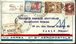 LETTRE EN PROVENACE D'ARGENTINE - 1929 -  RECOMMANDÉ - POUR LA COMPAGNIE GÉNÉRALE AÉROPOSTAL - - Storia Postale
