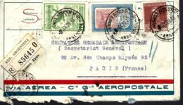 LETTRE EN PROVENACE D'ARGENTINE - 1929 - RECOMMANDÉ - POUR LA COMPAGNIE GÉNÉRALE AÉROPOSTAL PARIS - - Storia Postale