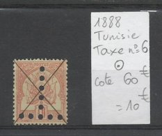 1888 Tunisie, Taxe N° 6 Oblitéré, Cote 60€ - Impuestos