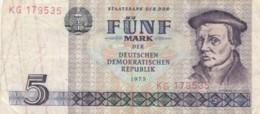BANCONOTA 5 MARCHI DDR VF (VX971 - 5 Deutsche Mark