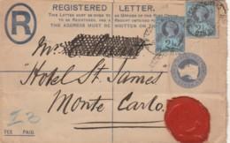 REGISTRED LETTER 1895 REGNO UNITO TIMBRO ARRIVO MONTECARLO (VX607 - 1840-1901 (Regina Victoria)