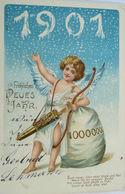 """""""Neujahr, Engel, Sack, Münzen, Pfeil, Jahreszahl"""" 1901 ♥  - Anno Nuovo"""