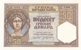 50 Dinara 1941 !!!  UNC Serbian Occupation Germany - Servië