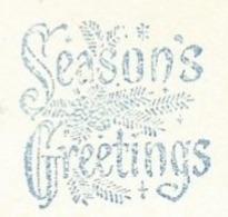 F001 EMA FREISTEMPEL METER Joyeux Noel Season Greetings Christmas CANADA KITCHENER 1958 - Blue Color - Kerstmis