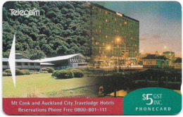New Zealand - Advertising Cards - Hotels - Mt Cook & Auckland City, 1993, 5$, 9.000ex, Used - New Zealand