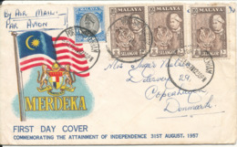 Malaya Selangor Cover Sent Air Mail To Denmark 5-9-1957 - Selangor