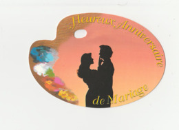 Carte Postale Petit Format En Forme De Palette HEUREUX ANNIVERSAIRE DE MARIAGE - Scrapbooking