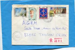 Marcophilie-lettre- Nouvelle Calédonie- Cad1985 -pour  Françe-4 Stamps N°A242 Jo 84 Course à Pieds+a244  Armées +466-482 - Briefe U. Dokumente