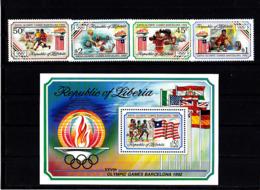Olympics 1992 - Soccer - LIBERIA - S/S+Set MNH - Summer 1992: Barcelona