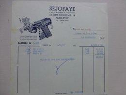 SEJOFAYE JOUETS (pistolets) Facture Illustrée 1952 ; Ref714 ; PAP07 - France
