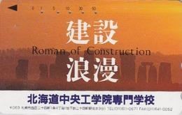 Télécarte Japon / 110-011 - Archéologie Préhistoire Menhir - Site STONEHENGE & SUNSET England Rel Japan Phonecard - 40 - Paysages