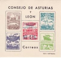 HOJA BLOQUE CON 5 SELLOS DEL CONSEJO DE ASTURIAS Y LEON CON SOBRECARGA DE 60 CENTIMOS SIN DENTAR - Blokken & Velletjes