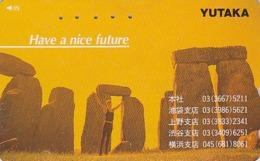 Télécarte Japon / 110-011 - Archéologie Préhistoire Menhir - Site STONEHENGE / England Rel Japan Phonecard - 42 - Landschaften