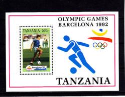 Olympics 1992 - Soccer - TANZANIA - S/S MNH - Summer 1992: Barcelona