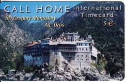 GREECE - St. Gregory Monastery/Aghio Oros, Satline Prepaid Card 5 Euro, Exp.date 31/12/03, Used - Paysages