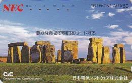 Télécarte Japon / 110-128419 - Archéologie Préhistoire Menhir - Site STONEHENGE / England Rel Japan Phonecard - 44 - Landschaften