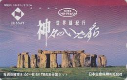 Télécarte Japon / 110-191049 - Archéologie Préhistoire Menhir - Site STONEHENGE / England Rel Japan Phonecard - 45 - Paysages