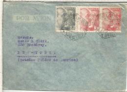 MADRID CC A USA SELLOS PERFORADOS PERFIN ELZABURU FRANCO DE PERFIL 2 SELLOS 4 PTS CON CENSURA - 1931-Today: 2nd Rep - ... Juan Carlos I
