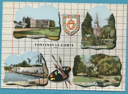 FONTENAY-LE-COMTE Château De Terre-Neuve Jardin Public Eglise N-D Piscine Jardin Public Hôtel De Ville Multivues Blason - Fontenay Le Comte