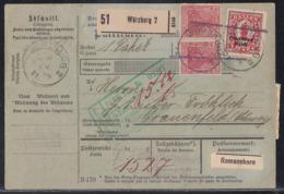 DR Paketkarte Mif Minr.129, 3x 135I, 2x 145 Würzburg 8.8.21 Gel. In Schweiz - Deutschland