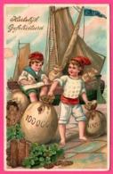 Cp Dorée - Voilier Doré Fortuna - Port - Enfant - Pièce D'Or - Trèfle - Hartelijk Gefeliciteerd - Edit. S.B. - 1911 - Fêtes - Voeux