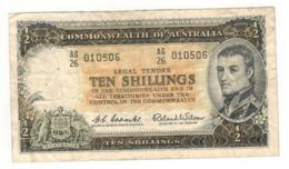 Australia 10 Shillings. P-33a , F/VF. - 1960-65 Reserve Bank Of Australia
