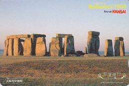 Carte Japon - Archéologie Préhistoire Menhir - Site STONEHENGE & SUNSET / England Rel Japan Rainbow Card - HW 53 - Landschaften
