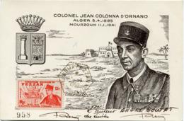 FEZZAN CARTE MAXIMUM DU N°50 COLONEL JEAN COLONNA D'ORNANO AVEC OBLITERATION SEBHA FEZZAN 11-1-1950 - Fezzan (1943-1951)