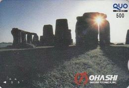 Carte Prépayée Japon - Archéologie Préhistoire Menhir - Site STONEHENGE England Rel. Japan Prepaid QUO Card  - 52 - Landschaften