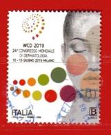 Italia °- 2019 - CONGRESSO MONDIALE Di DERMATOLOGIA,  Usato. - 6. 1946-.. Repubblica