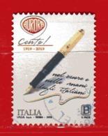 Italia °- 2019 -  PENNA AURORA,  Usato. - 6. 1946-.. Repubblica