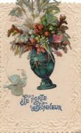 JE PORTE BONHEUR - Vase Rempli De Fleurs, Découpi, Noeud - Fleurs