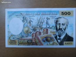 Superbe Et Rare Billet 500 Francs Frs De Réductions Spécimen François Beauval AARTI état FDC - Specimen