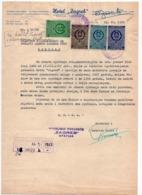 1958 YUGOSLAVIA, CROATIA, OPATIJA, HOTEL ZAGREB, LETTERHEAD, 4 REVENUE STAMPS - Invoices & Commercial Documents