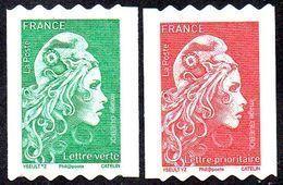 France Autoadhésif N° 1601 Et 1602 ** Marianne L'Engagée - Roulettes Verte Et Rouge PRO - Adhésifs (autocollants)