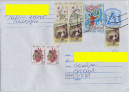 """2010 Belarus Addressed Stationary Cover From Gomel. 8 Stamps: """"Happy New Year"""", Flowers Narcissus, Petunias. Raccoon Dog - Belarus"""