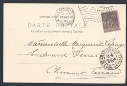 CP Pavillon Vins De Champagne Sage Y/T 103 TAD Expo Universelle Avec Drapeau 19/10/1900 Vers Clermont-ferrand - Marcofilia (sobres)