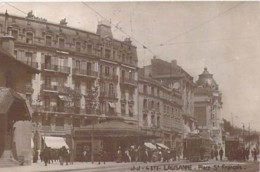 SUISSE Swiss ( VD Vaud ) LAUSANNE Place St François ( Animation Tramway ) CPSM Photo 1921 Format CPA - Switzerland - VD Vaud