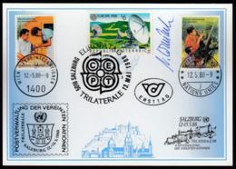 United Nations Geneva Vienna 1988 / TRILATERALE Salzburg, Europa Day / Philatelic Exhibition - Philatelic Exhibitions