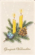 AK Gesegnete Weihnachten - Kerzen Tannenzapfen Tannenzweige  - Künstlerkarte - 1964  (44086) - Christmas