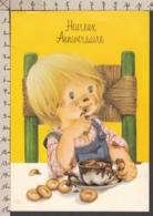 92282GF/ ENFANTS, Illustration, Enfant Devant Une Tasse De Chocolat, Gaufrée, Anniversaire - Kindertekeningen