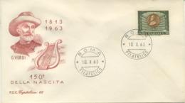 ITALIA - FDC CAPITOLIUM  ROSSA 1963  - GIUSEPPE VERDI - MUSICA - F.D.C.