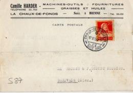 S87 Suisse Lettre De Camille Harder Du 19-06-1934 Avec Flamme, Cachet Poste. Postée à La Chaux De Fonds En Suisse - Postmark Collection
