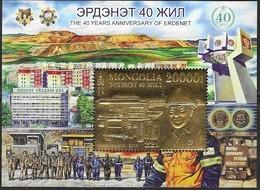 MONGOLIA, 2019, MNH , MINING, 40 YEARS OF EDERNET MINE, MINERS, TRUCKS, GOLD FOIL S/SHEET - Minerals